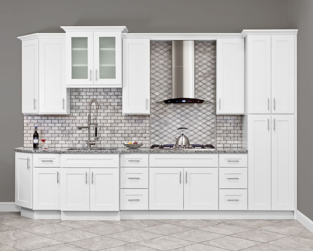 LessCare Alpina White 27W 42H Mullion Door Diagonal Corner Wall Cabinet