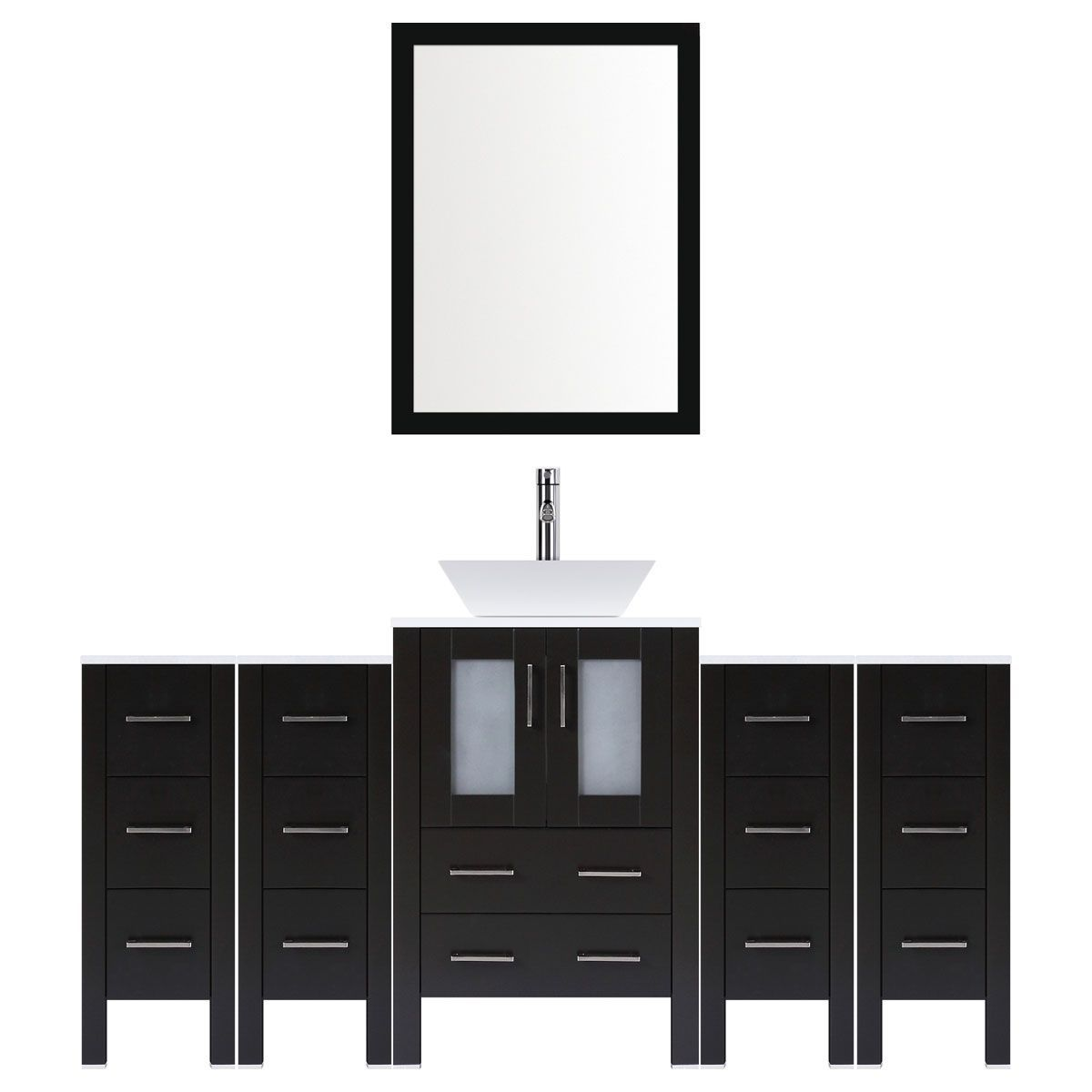 Lesscare Espresso 84w Single Vessel Sink Vanity Set With Four Drawer Bases And One Mirror