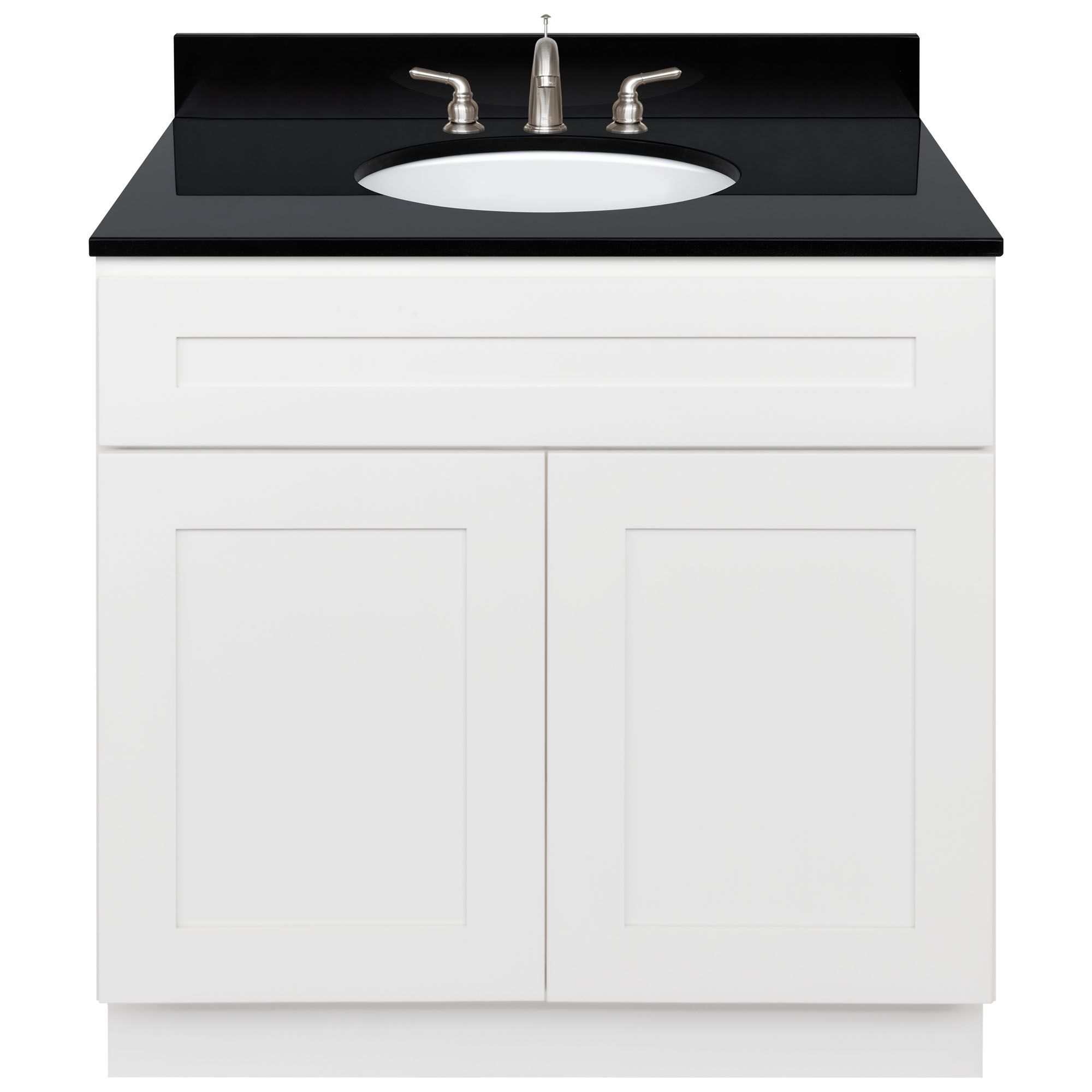 Lesscare Alpina White 37w Vanity And Absolute Black Granite Top With 8 In Spread And Faucet