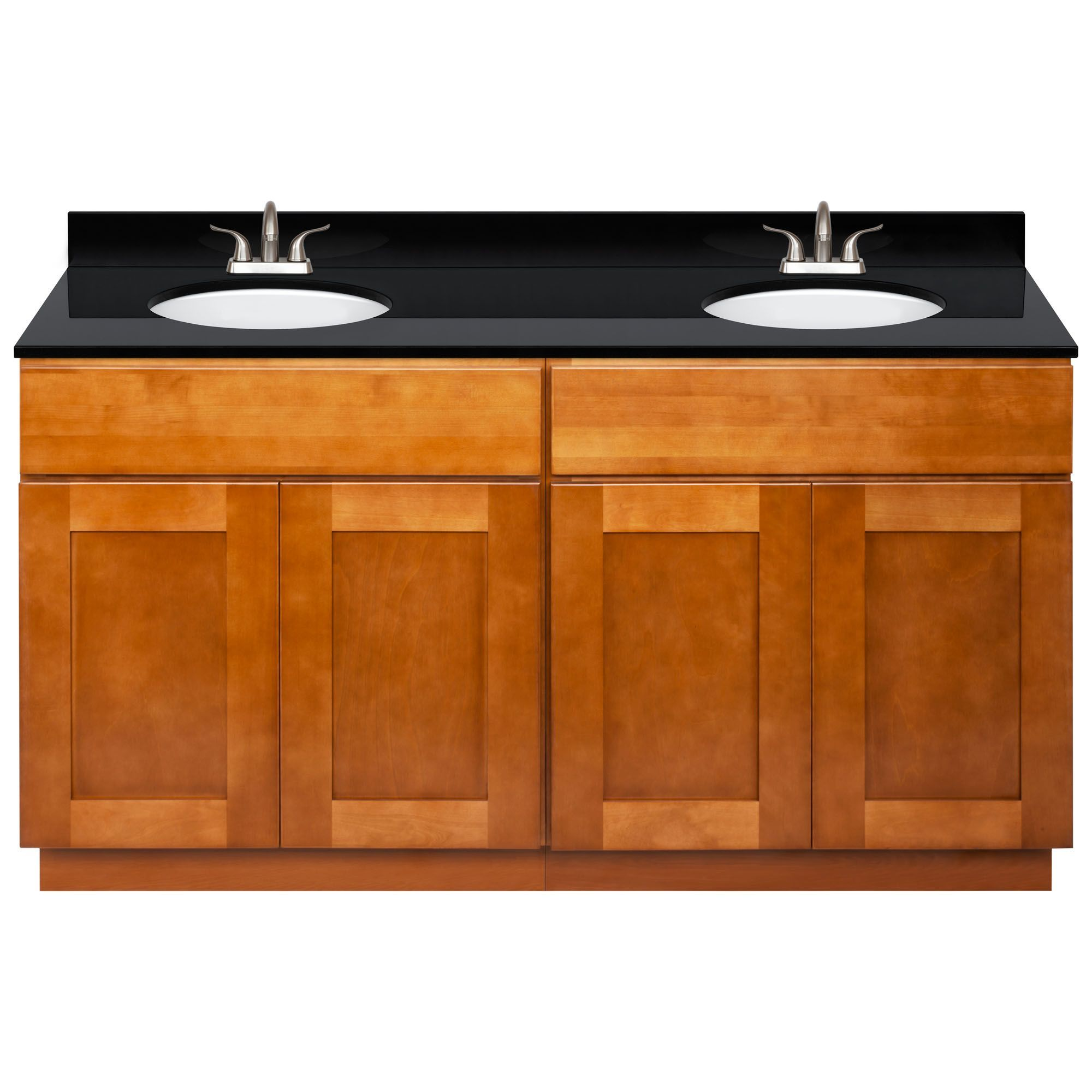 Lesscare Newport 61w Double Sink Vanity And Absolute Black Granite Top With 4 In Spread And Faucet