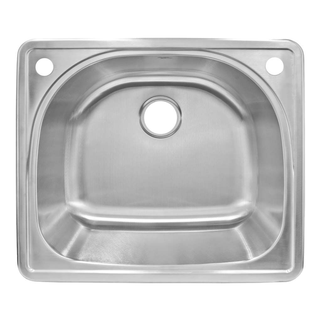 LessCare Rounded Top Mount 25W x 22L x 9D Single Basin Kitchen Sink