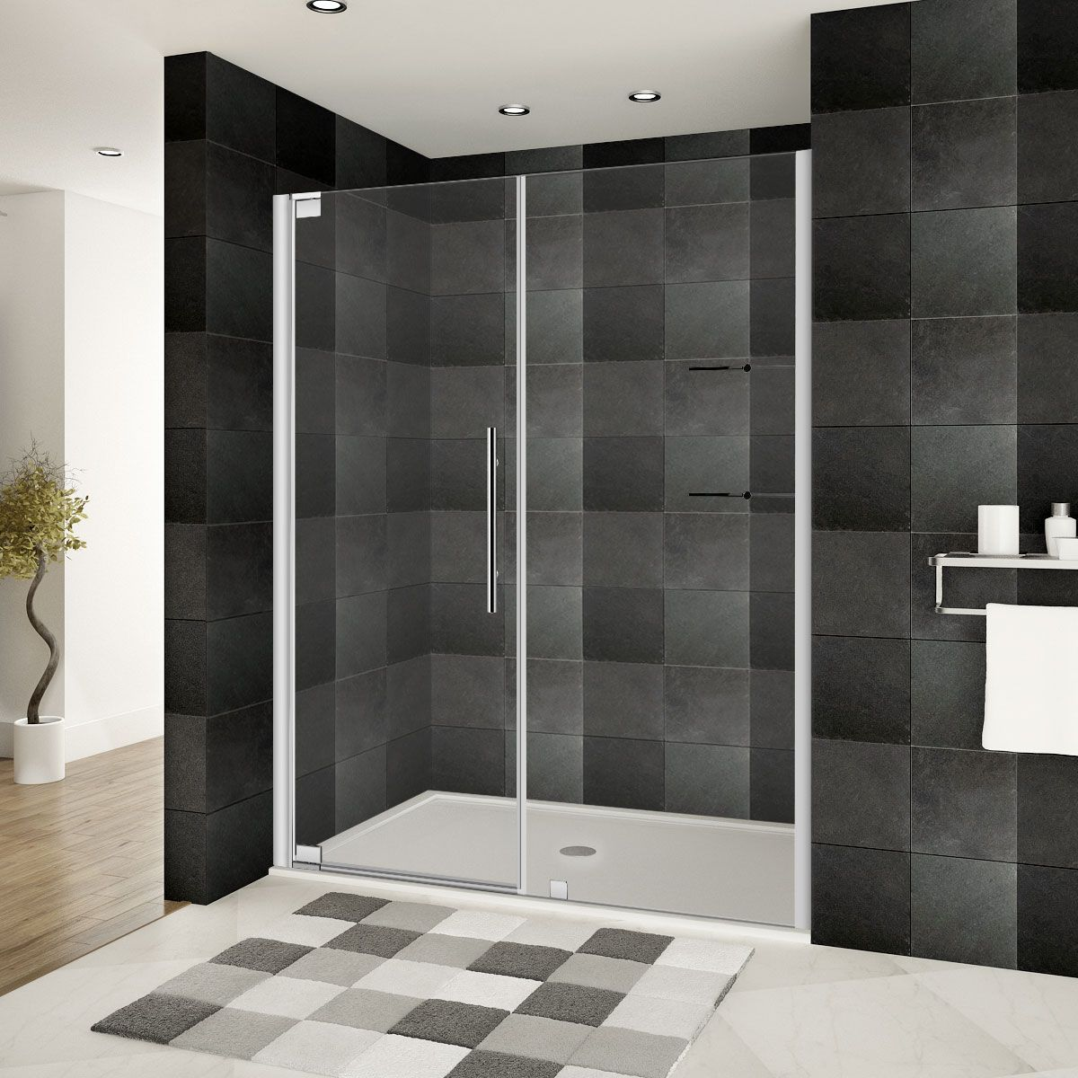 Lesscare Chrome Ultra G 63 65w X 72h Pivot Swing Out Shower Door With Stationary Panel
