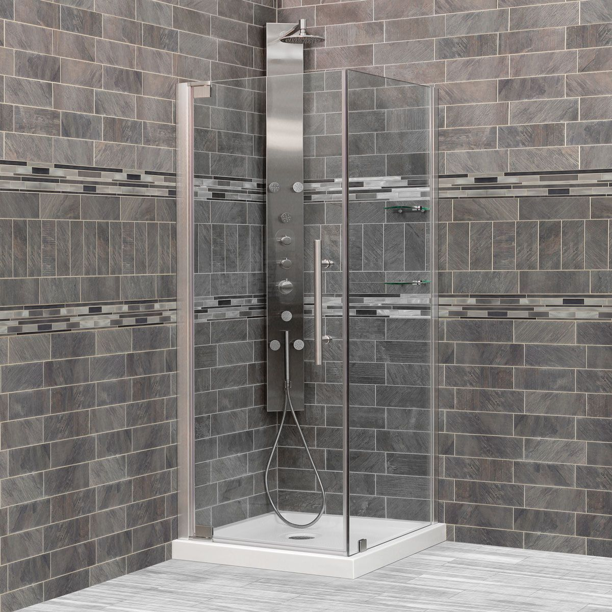 Lesscare Brushed Nickel Ultra G 34 3 8 35w X 72h Pivot Swing Out Shower Door With Enclosure Panel