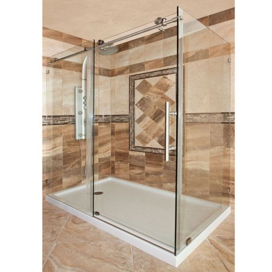 Shower Doors.Lesscare Chrome Ultra C 56 60w X 76h Sliding Shower Door And Enclosure With Stationary Panel