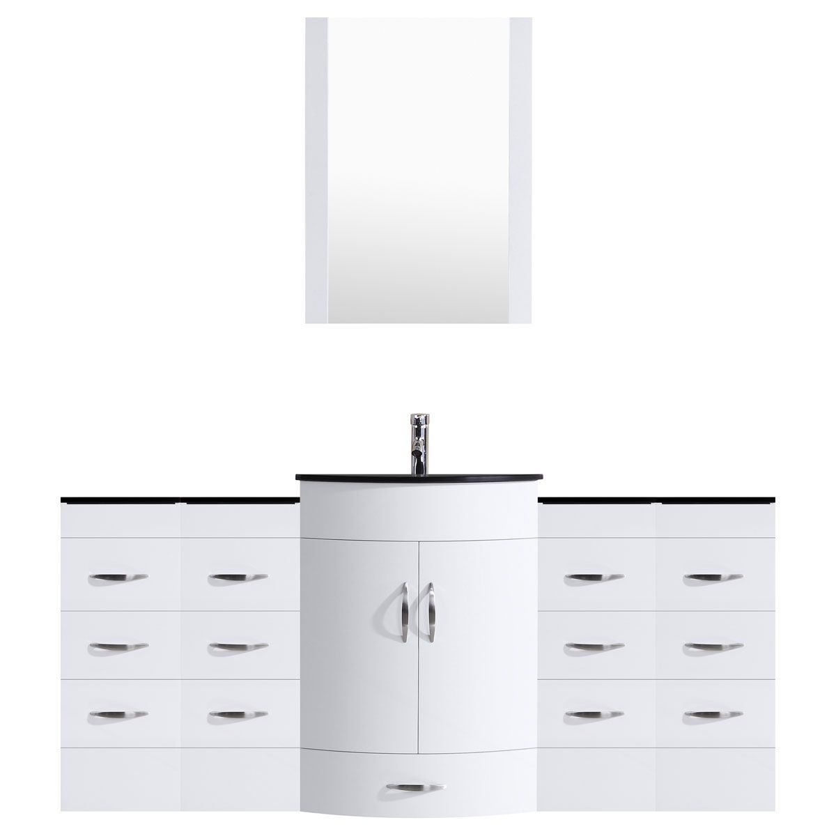 LessCare White 72W Single Sink Vanity Set With Four Vanity Drawer Bases And Mirror - Vanities ...