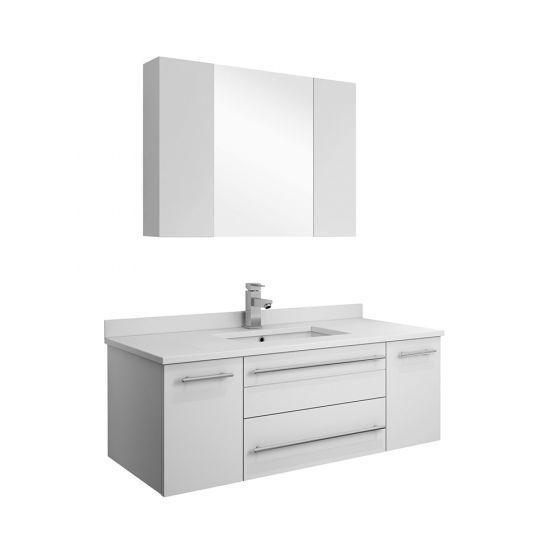 Fresca Stella Lucera White 42w Wall Hung Undermount Sink Bathroom Vanity With Medicine Cabinet