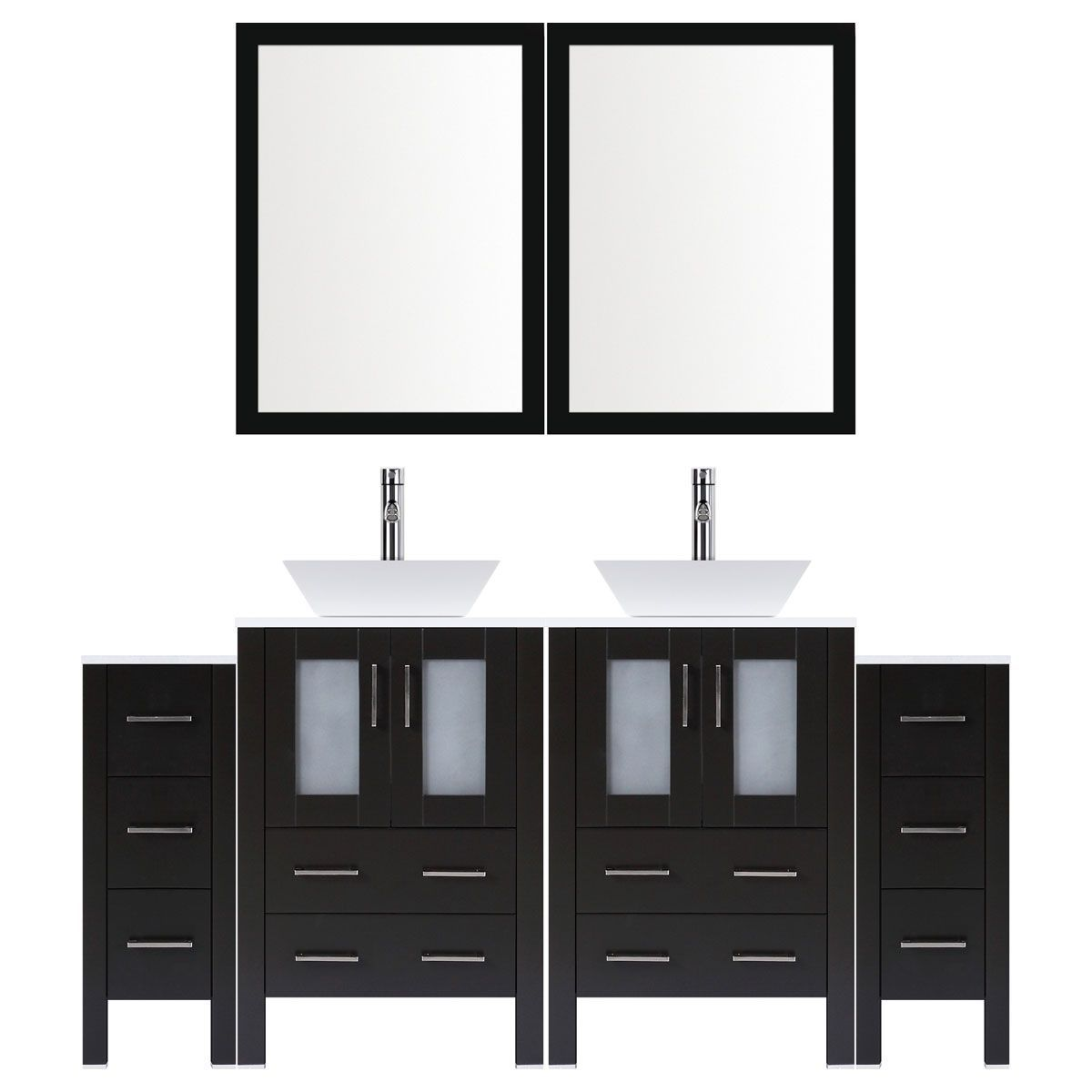 Excellent Lesscare Espresso 96W Double Vessel Sink Vanity Set With Two Vanity Drawer Bases And Two Mirrors Download Free Architecture Designs Scobabritishbridgeorg