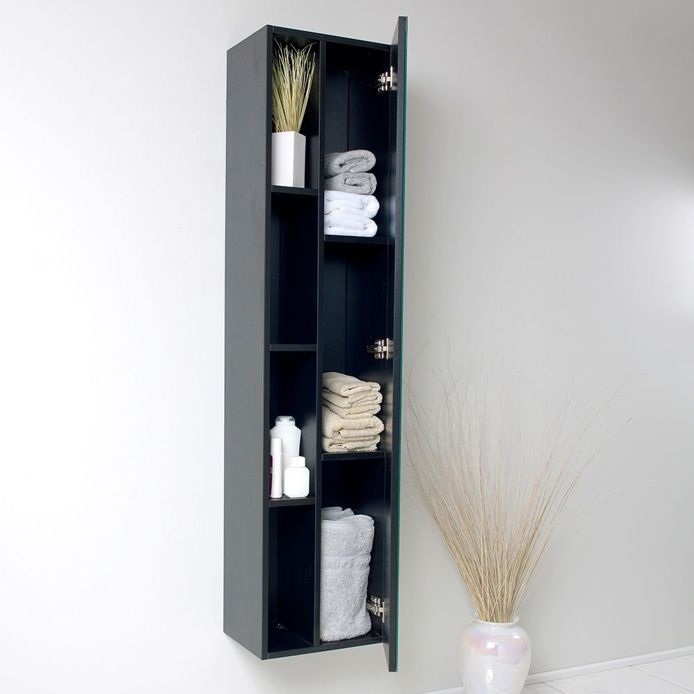 Groovy Fresca Senza Black Bathroom Linen Side Cabinet With 4 Cubby Holes Mirror Download Free Architecture Designs Viewormadebymaigaardcom