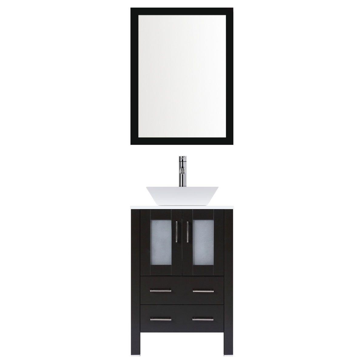Incredible Lesscare Espresso 24W Single Vessel Sink Vanity Set With Mirror Download Free Architecture Designs Scobabritishbridgeorg
