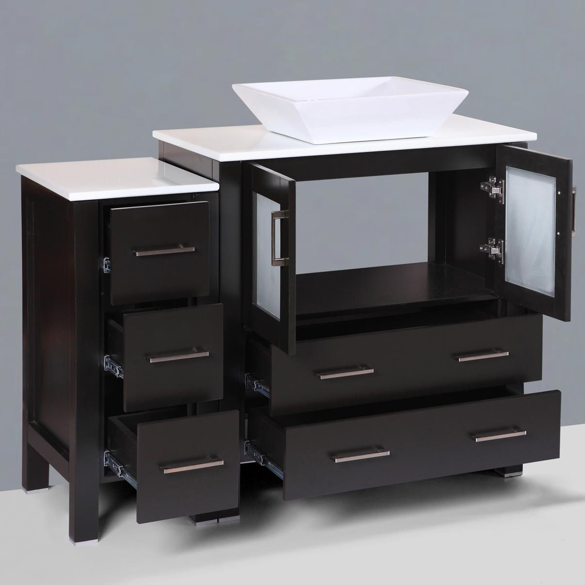 Vanity Set.Lesscare Espresso 84w Single Vessel Sink Vanity Set With Four Vanity Drawer Bases And One Mirror