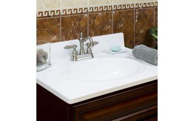 Lesscare Horizon Blinding White 19w 17d Single Marble Vanity Top